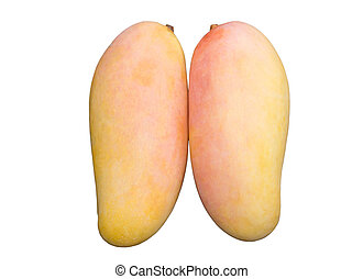 Ripe mango isolate white background with clipping path