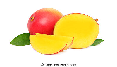 Ripe mango with slices and leaves (isolated) - Ripe mango...