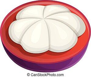 Ripe mangosteen icon, cartoon style