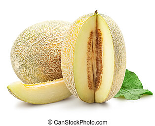 Ripe melon with sliced over white background