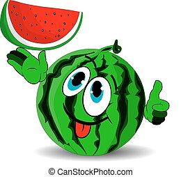 Ripe merry watermelon shows a slice and stuck out his tongue, cartoon on a white background.