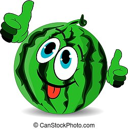 Ripe merry watermelon shows thumbs up and stuck out the tongue, cartoon on a white background.