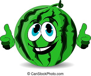 Ripe merry watermelon shows thumbs up, cartoon on white background.