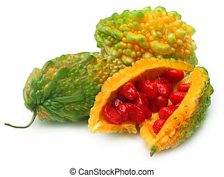 Ripe Momordica or karela - Ripe Green Momordica or karela on...