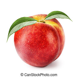 Ripe nectarine with green leaves