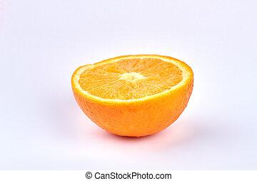 Ripe orange on light background.