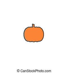 Ripe orange pumpkin sticker isolated on white background.
