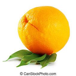 Ripe orange with leaves