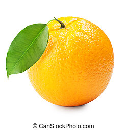 ripe orange with leaves on white background. Clipping Path