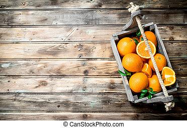 Ripe oranges in the box.