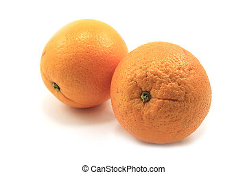 Ripe oranges isolated on white background + Clipping Path