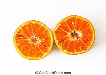 Ripe oranges on a white background