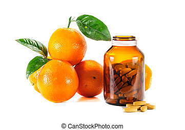 Ripe orange,vitamin c isolated on white background