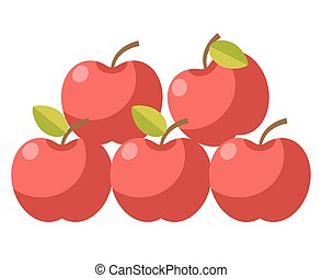 Ripe organic apples with stems and leaves illustration