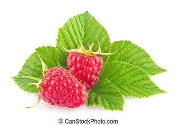 Ripe organic raspberry with green leaf
