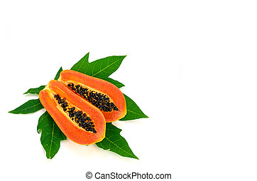 Ripe papaya (Carica papaya L) with leaves isolated with...