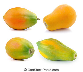 ripe papaya isolated on a white background