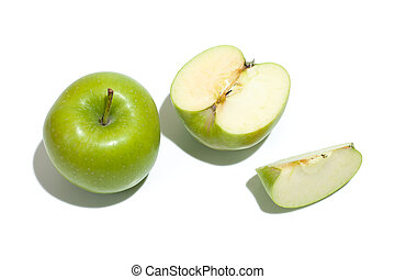 Ripe parts green apple Isolated on a white background. Healthy eating and dieting concept