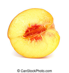 ripe peach fruit cut isolated