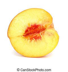 ripe peach fruit cut isolated