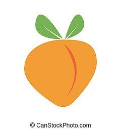 Ripe peach fruit green leaves, vector cartoon soft, juicy ...
