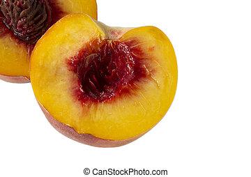 Ripe peach fruit isolated