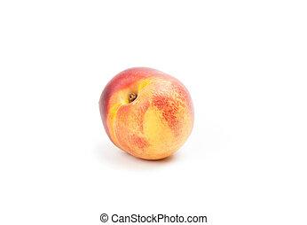 Ripe peach fruit isolated on white