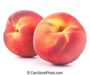 Ripe peach fruit - Ripe peach fruit isolated on white...