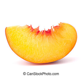 Ripe peach fruit slice isolated on white background cutout