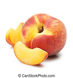 Ripe peach fruit slises on white background