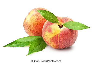Ripe peach fruit with leaves on white background