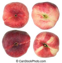 Ripe peach fruits top view .