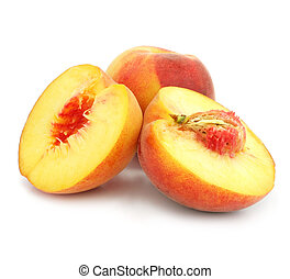 ripe peach fruits with cut isolated