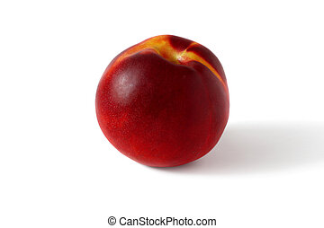 ripe peach isolated on white