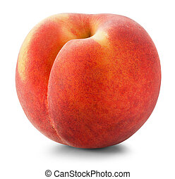 Ripe peach on a white background. Clipping Path