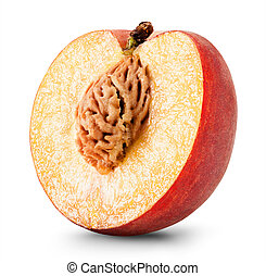 Ripe peach fruit isolated on white background. Clipping Path