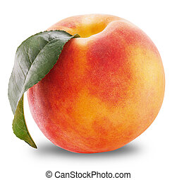 Ripe peach fruit with leaves and slises on white background....