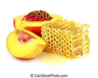 Ripe peach with honeycombs