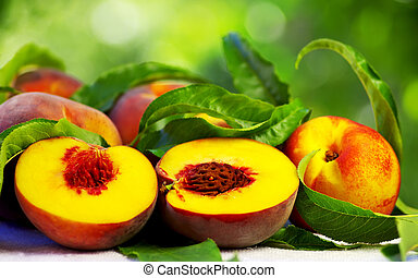 Ripe peaches with green leaves