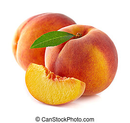 Ripe peaches with slice