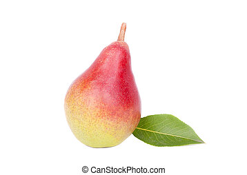 Ripe pear on white background.