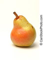 one bartlett pear on white