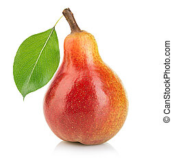 Ripe pear with leaf close-up isolated on a white background