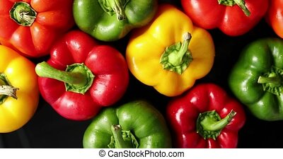 Ripe peppers of different color - From above view of...