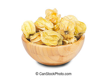Ripe physalis in bowl isolated on white background