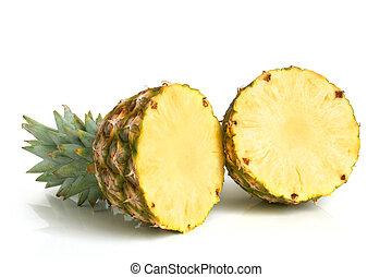 Ripe pineapple on white background