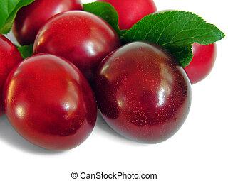 ripe plum, isolated on white background