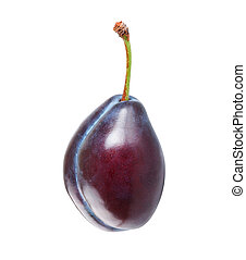 Ripe plum - One ripe plum isolated on white background