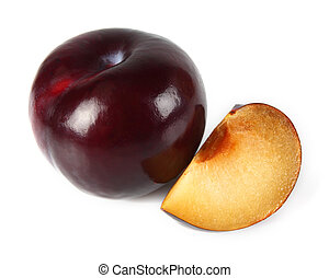 Ripe plum with slice