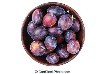 ripe plums isolated